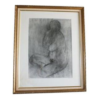 Framed Vintage Female Nude in Charcoal