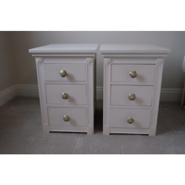 Image of Antique White Nightstands - Set of 2