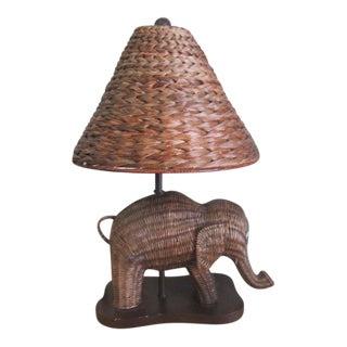 Wicker Elephant Lamp