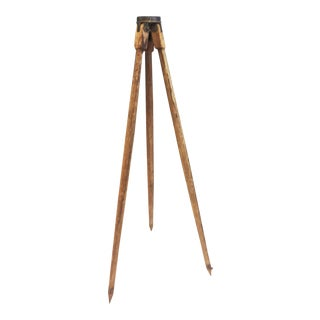 Vintage Industrial Carved Wood Surveying Tripod