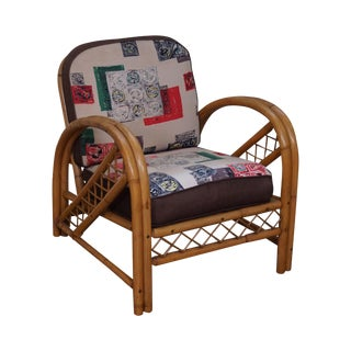 Vintage Rattan Bow Arm Lounge Chair by Imperial Reed