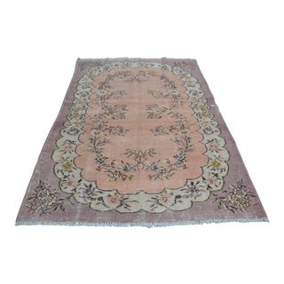 Peach Floral Overdyed Rug - 5′9″ × 8′10″