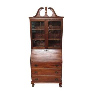 Vintage Ribbon Mahogany Secretary Bookcase