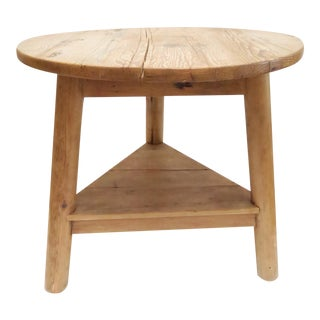 Rustic Round Wood Side Table