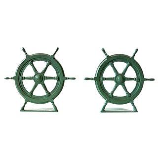 Vintage Ship Wheel Bookends - A Pair