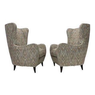 Pair of Italian High Back Lounge Chairs