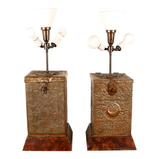 Moroccan Copper Table Lamps - A Pair