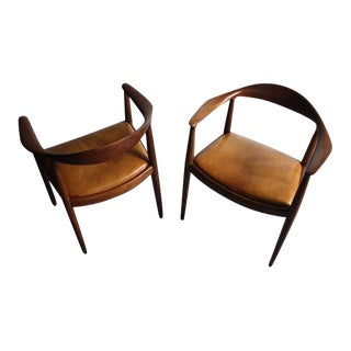 Hans Wegner Mahogany Round Chairs - A Pair