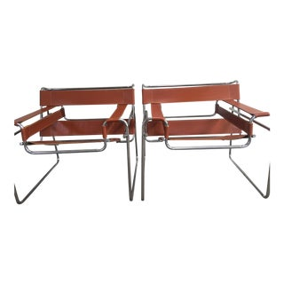 "1970s Marcel Breuer for Knoll ""Wassily"" Tubular Chrome & Cognac Leather Chairs - a Pair"
