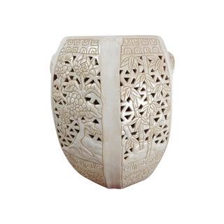 Vintage Cream Carved Relief Ceramic Garden Stool
