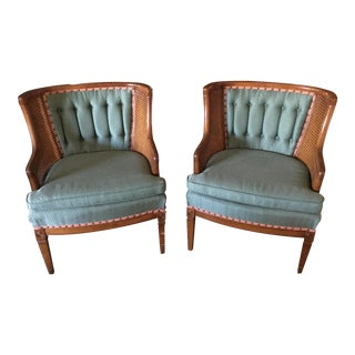 Upholstery & Wicker Club Chairs - A Pair