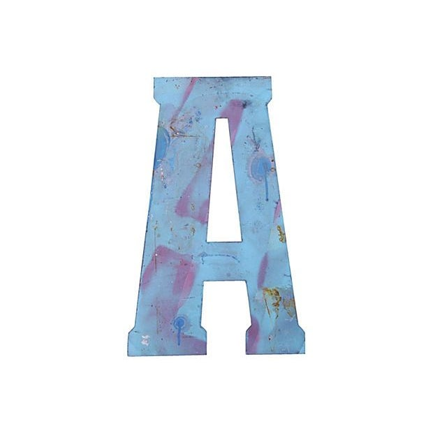 Image of Large Blue Metal Marquee Letter A