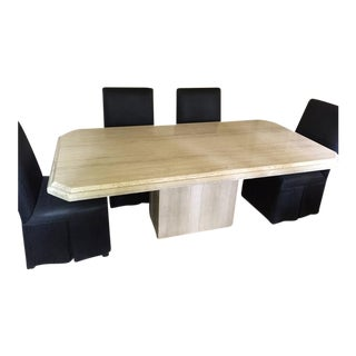 Travertine Marble Pedestal Dining Set