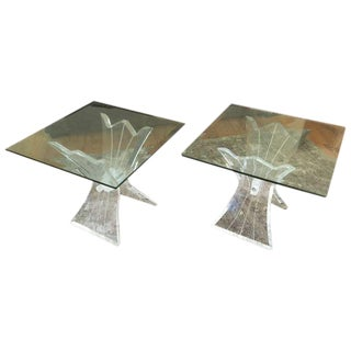 Mid-Century Lucite and Glass Side Tables - A Pair