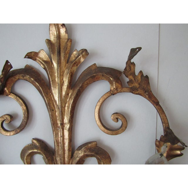 Antique Gold French Luciano Leaf Sconce - Image 5 of 8