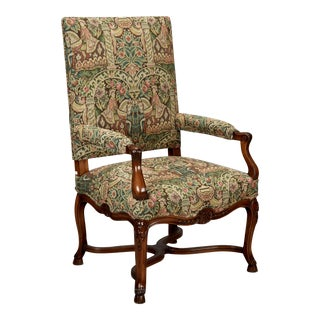 19th Century French Louis XIV Armchair Covered In Old World Style Tapestry Fabric