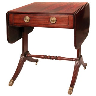 Inlaid Mahogany Drop-leaf Regency Sofa Table with Drawer