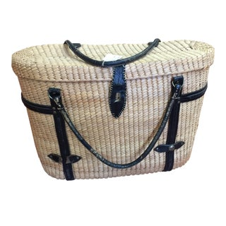 1950s Vintage Woven Picnic Basket
