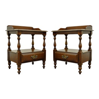 Vintage Traditional Sterlingworth Corp Solid Cherry Nightstands - A Pair