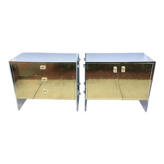 Large Brass, Wood & Lucite Nightstands - a Pair