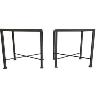 Custom Iron and Wood Side Tables - A Pair