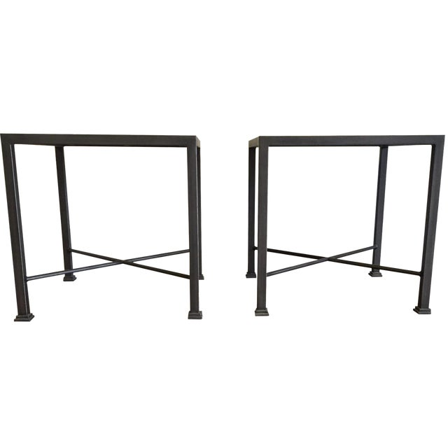 Custom iron and wood side tables a pair chairish for Iron and wood side table