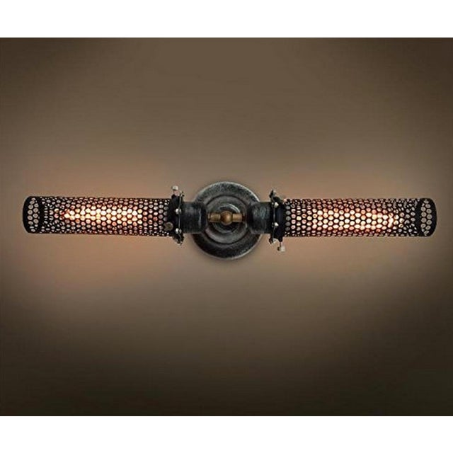 Industrial Double Head Metal Mesh Wall Sconce - Image 2 of 4