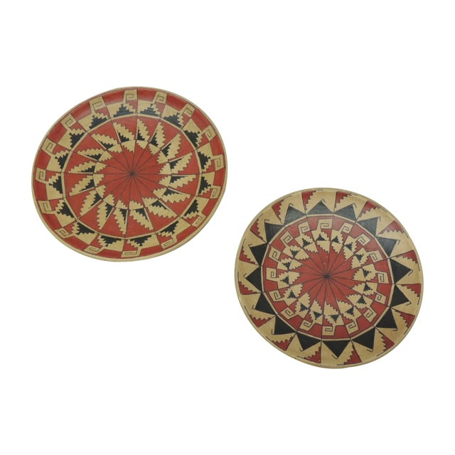 Vintage Terracotta Painted Dishes - Pair - Image 1 of 4