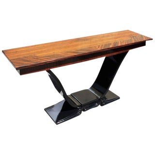 Spectacular French Art Deco Macassar Ebony Console Table Circa 1940s .