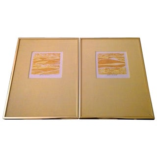 Prints with Yellow Matte & Gold Frames - A Pair