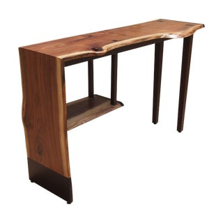Walnut & Black Womby Wood Table with Shelf