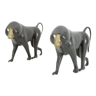 Set of Bronze Baboon Sculptures by Loet Vanderveen