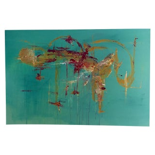 Contemporary Abstract Turquoise Painting