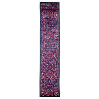 "Eclectic, Hand Knotted Purple Floral Motif Wool Runner Rug - 2' 6"" X 12' 1"""