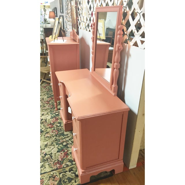 Antique Pink Painted Shabby Chic Vanity & Mirror - Image 6 of 11