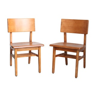 Mid-Century Maple Public Library Chairs - Pair