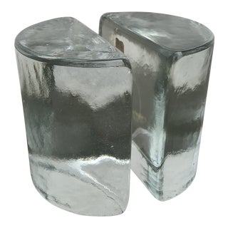 Blenko Molded Glass Bookends - a Pair