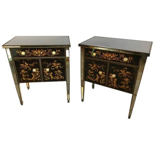 Jansen Mirror & Eglomise Nightstands - A Pair