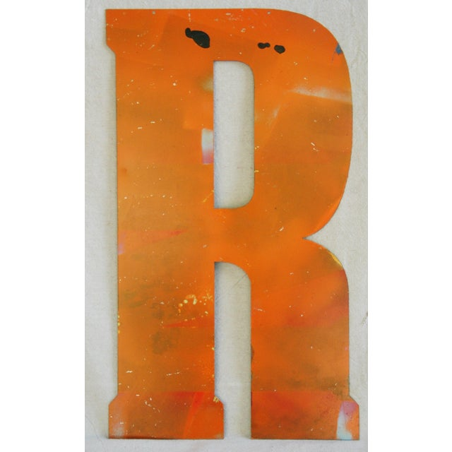 Image of Large Orange Salvage Metal Marquee Letter 'R'