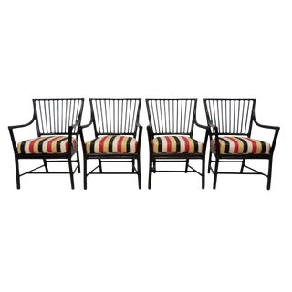 Dowel Back Bamboo Dining Arm Chairs by McGuire, Set of 4