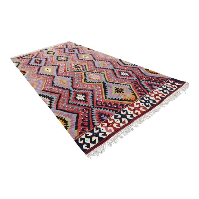Vintage Turkish Tribal Oushak Kilim Rug - 5' X 9'8""
