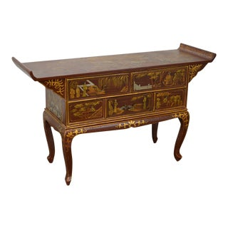 Chinoiserie Hand Painted Pagoda Top Server Console