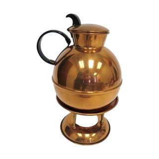 Mid-Century Copper Tea Pot with Stand
