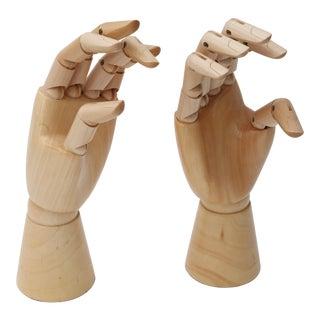 Vintage Wood Articulate Hands - A Pair