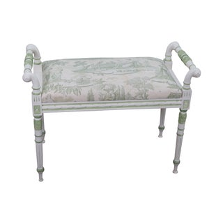 Custom Hand Painted French Louis XVI Style Bench