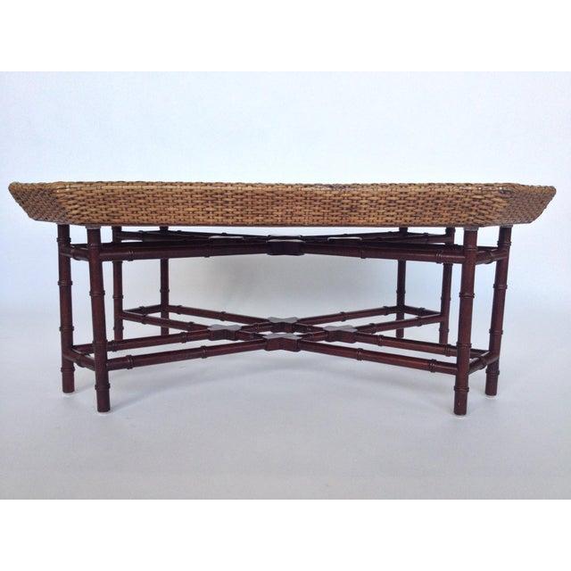 Wicker Coffee Table Base: Crate & Barrel Bamboo Base Rattan Coffee Table