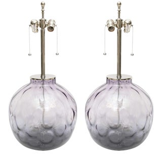 Chrome Lucite & Purple-Violet Colored Murano Glass Lamps - A Pair