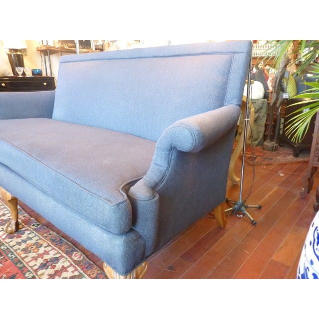 Blue High Back Sofa With Ball Claw Legs Chairish