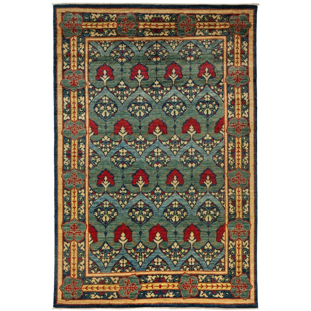 """Image of New Arts & Crafts Hand Knotted Area Rug - 6' x 8'10"""""""
