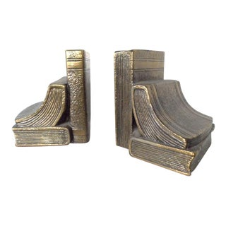 Antiqued Felt-Bottomed Brass Bookends - A Pair
